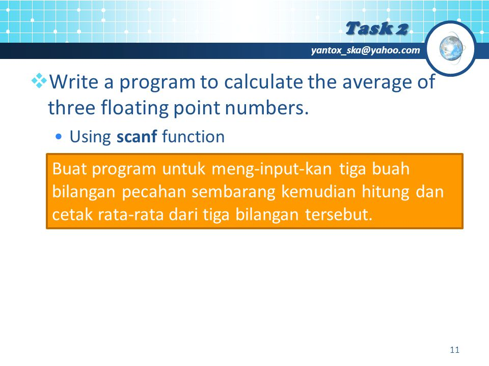 yantox_ska@yahoo.com  Write a program to calculate the average of three floating point numbers.