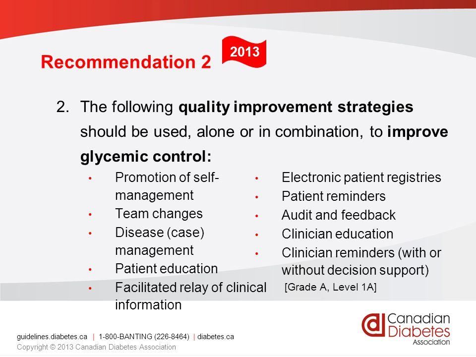 guidelines.diabetes.ca | 1-800-BANTING (226-8464) | diabetes.ca Copyright © 2013 Canadian Diabetes Association 2.The following quality improvement strategies should be used, alone or in combination, to improve glycemic control: Recommendation 2 2013 Electronic patient registries Patient reminders Audit and feedback Clinician education Clinician reminders (with or without decision support) [Grade A, Level 1A] Promotion of self- management Team changes Disease (case) management Patient education Facilitated relay of clinical information