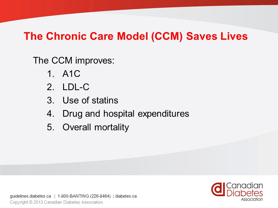 guidelines.diabetes.ca | 1-800-BANTING (226-8464) | diabetes.ca Copyright © 2013 Canadian Diabetes Association The Chronic Care Model (CCM) Saves Lives The CCM improves: 1.A1C 2.LDL-C 3.Use of statins 4.Drug and hospital expenditures 5.Overall mortality