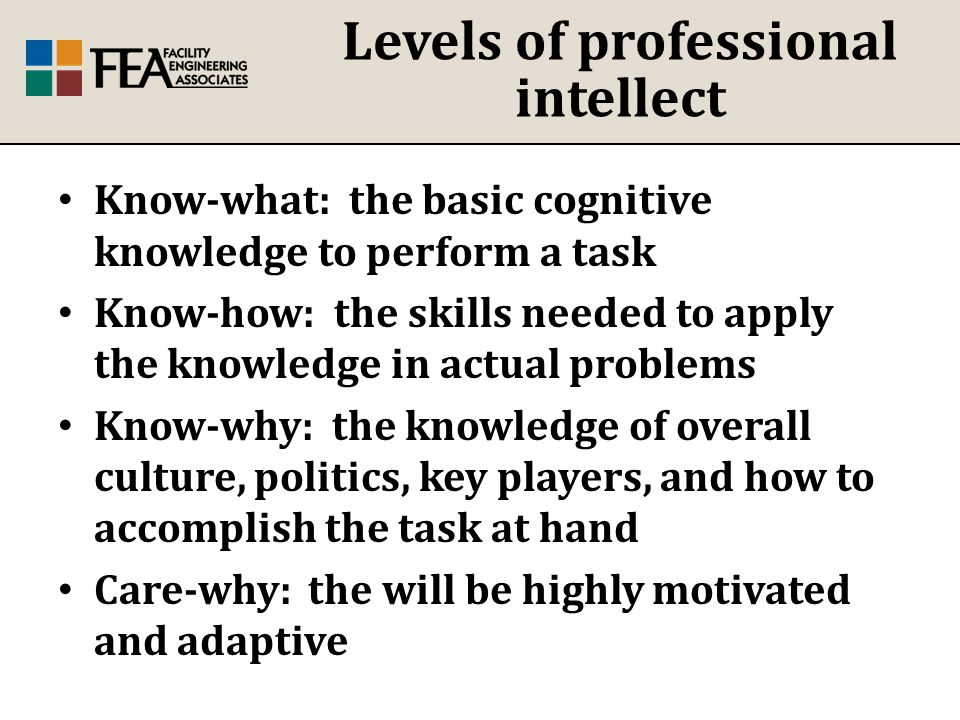 Levels of professional intellect Know-what: the basic cognitive knowledge to perform a task Know-how: the skills needed to apply the knowledge in actual problems Know-why: the knowledge of overall culture, politics, key players, and how to accomplish the task at hand Care-why: the will be highly motivated and adaptive