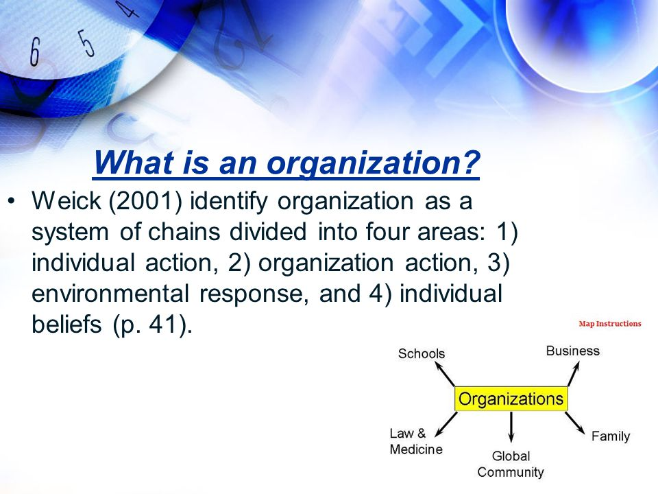 What is an organization? Weick (2001) identify organization as a system of chains divided into four areas: 1) individual action, 2) organization actio