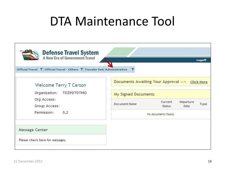 DTA Maintenance Tool 1812 December 2012