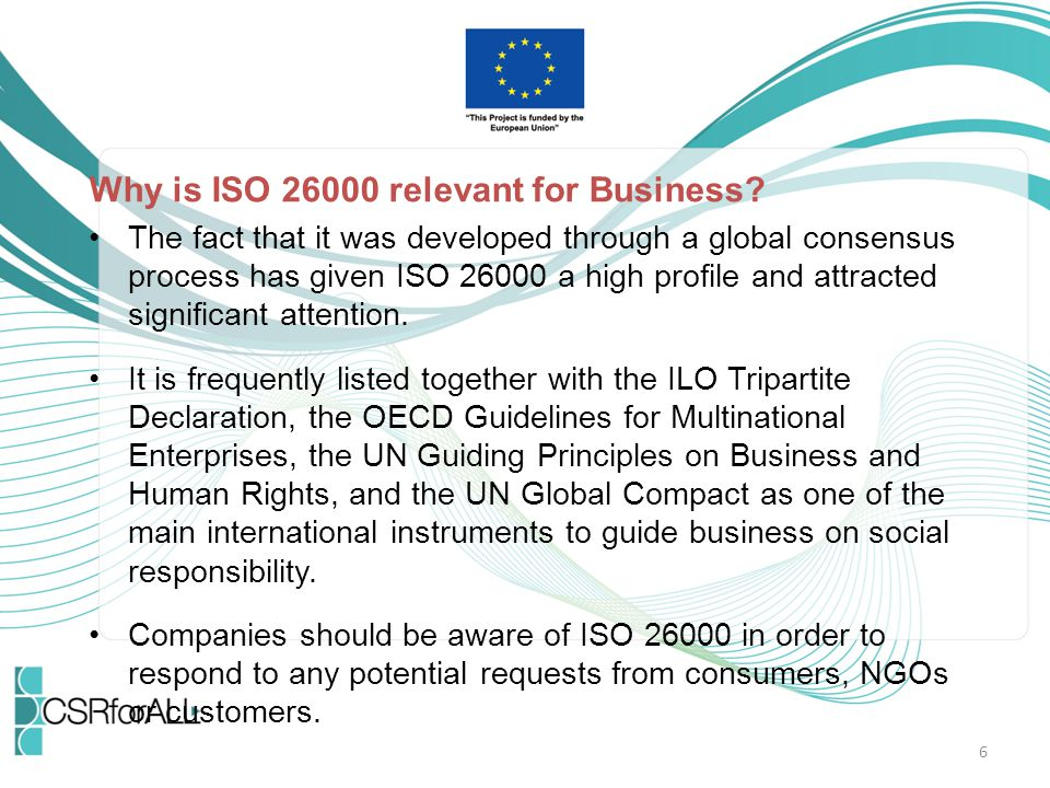 Key Content of ISO 26000 Definition of key terms and the principles of SR (ch.