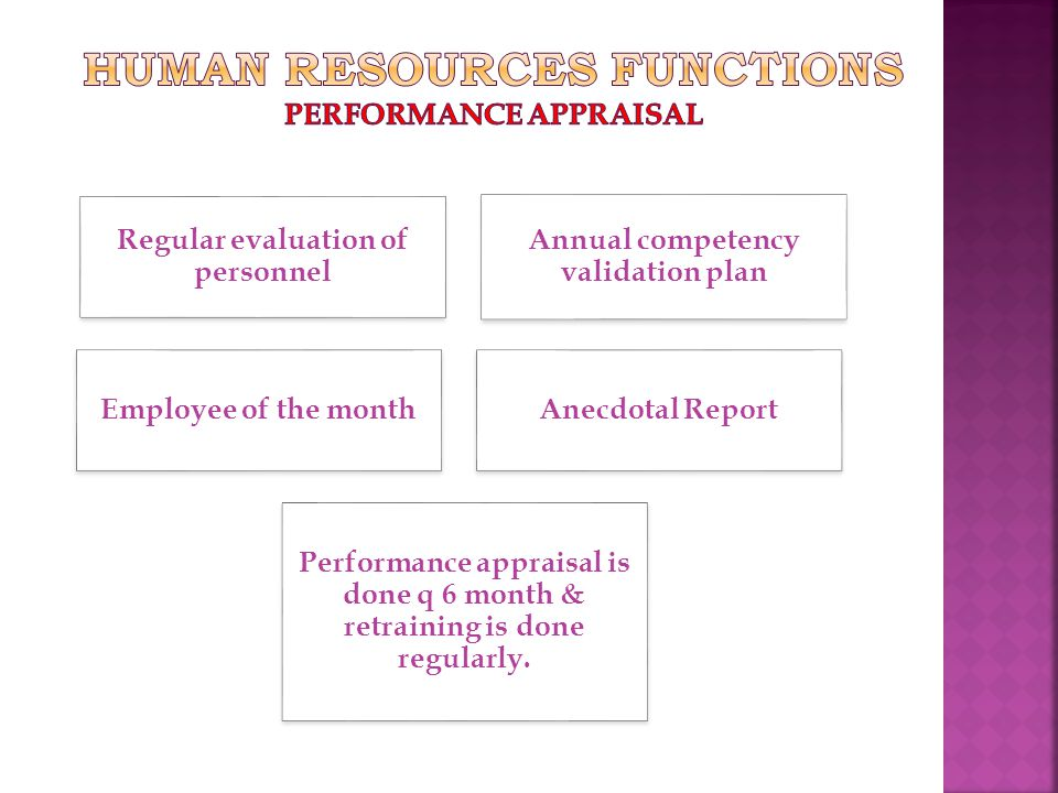Regular evaluation of personnel Annual competency validation plan Performance appraisal is done q 6 month & retraining is done regularly.