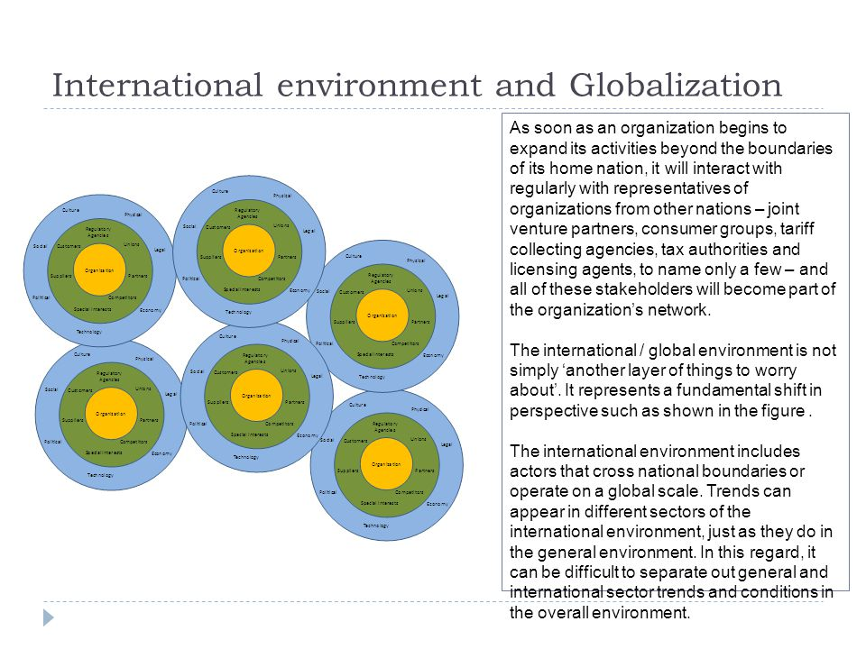 International environment and Globalization As soon as an organization begins to expand its activities beyond the boundaries of its home nation, it will interact with regularly with representatives of organizations from other nations – joint venture partners, consumer groups, tariff collecting agencies, tax authorities and licensing agents, to name only a few – and all of these stakeholders will become part of the organization's network.