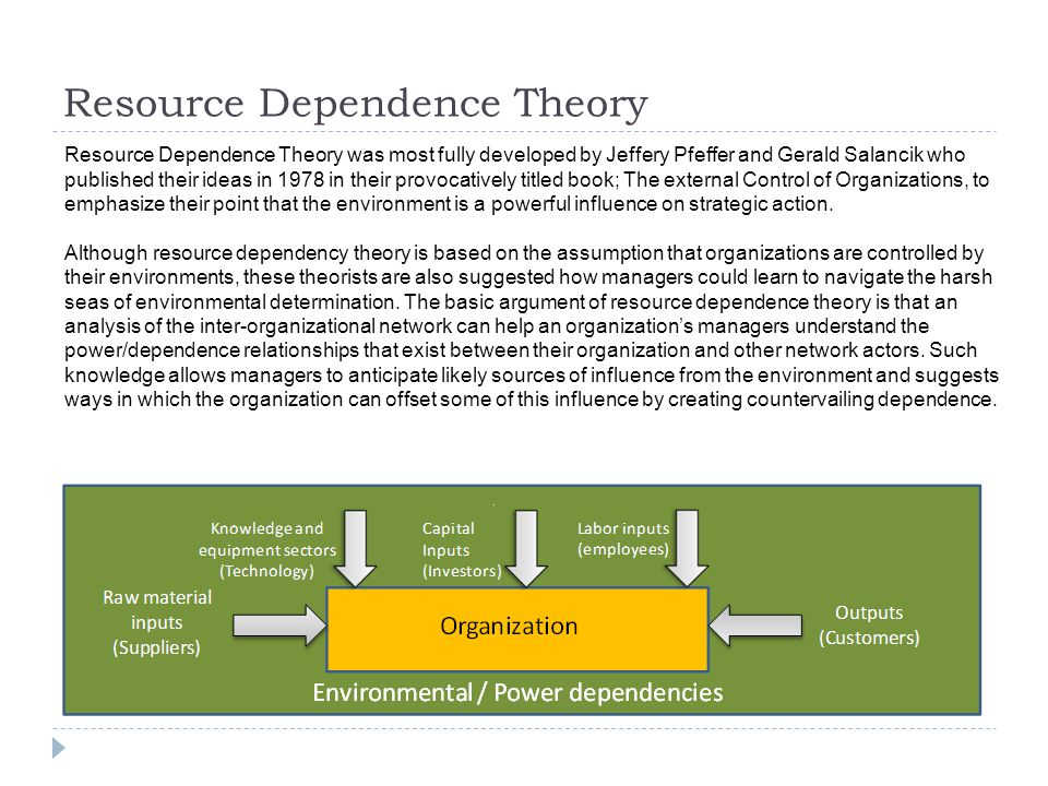 Resource Dependence Theory Resource Dependence Theory was most fully developed by Jeffery Pfeffer and Gerald Salancik who published their ideas in 1978 in their provocatively titled book; The external Control of Organizations, to emphasize their point that the environment is a powerful influence on strategic action.