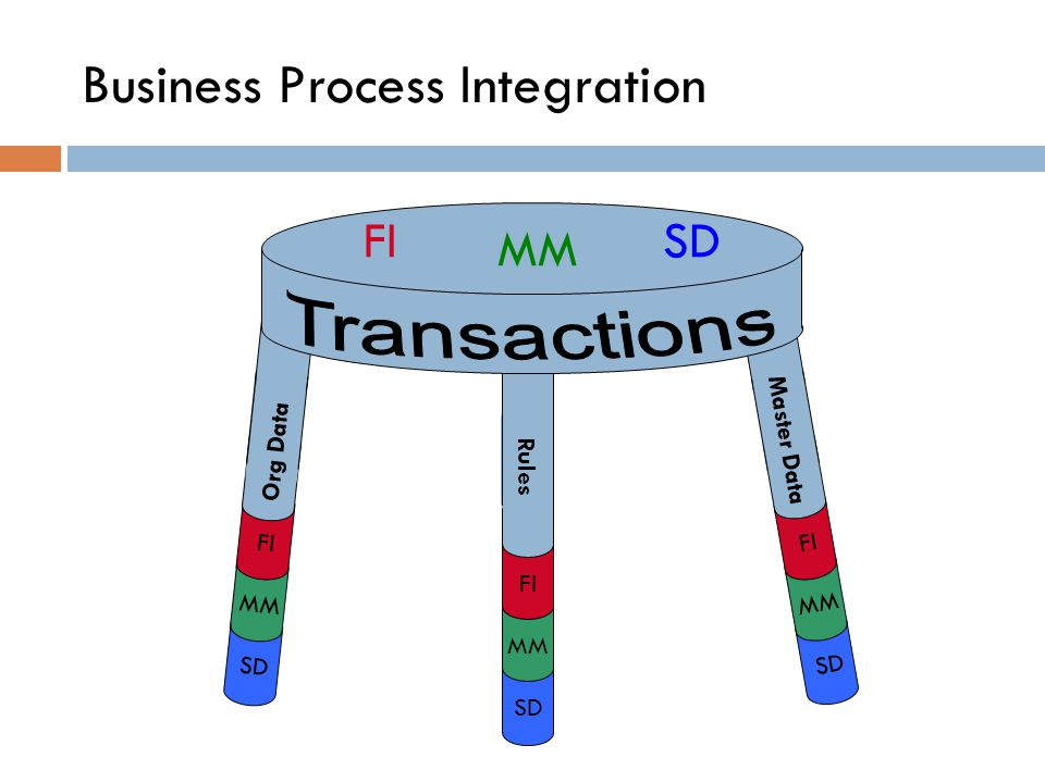Business Process Integration The Stool : a metaphor for the SAP structure There are four basic components needed to run execute SAP: 1.