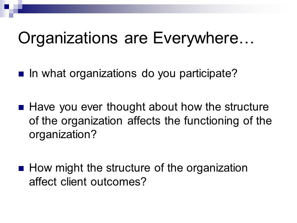 Organizations are Everywhere… In what organizations do you participate.