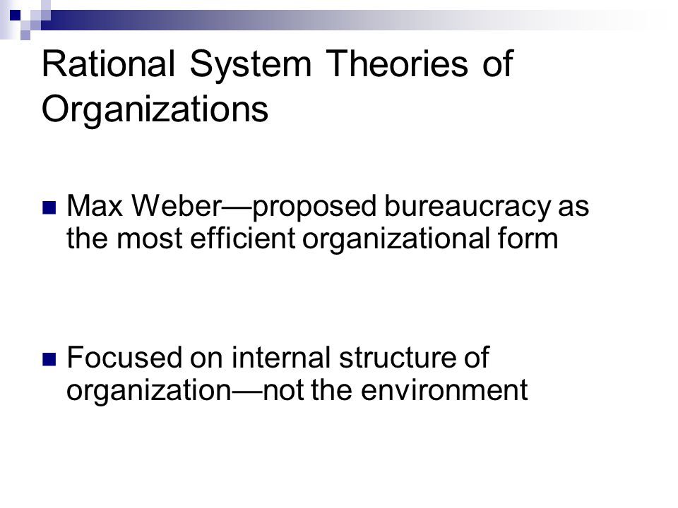 Rational System Theories of Organizations Max Weber—proposed bureaucracy as the most efficient organizational form Focused on internal structure of organization—not the environment