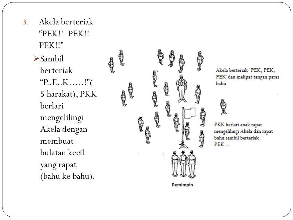 """3. Akela berteriak """"PEK!! PEK!! PEK!!""""  Sambil berteriak """"P..E..K…..!""""( 5 harakat), PKK berlari mengelilingi Akela dengan membuat bulatan kecil yang"""