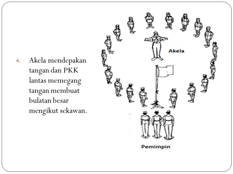 4. Akela mendepakan tangan dan PKK lantas memegang tangan membuat bulatan besar mengikut sekawan.