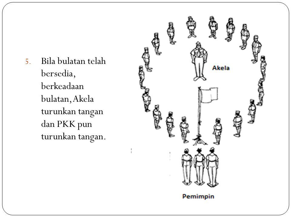 5. Bila bulatan telah bersedia, berkeadaan bulatan, Akela turunkan tangan dan PKK pun turunkan tangan.