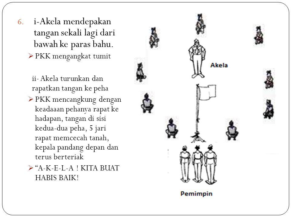 6. i-Akela mendepakan tangan sekali lagi dari bawah ke paras bahu.  PKK mengangkat tumit ii- Akela turunkan dan rapatkan tangan ke peha  PKK mencang