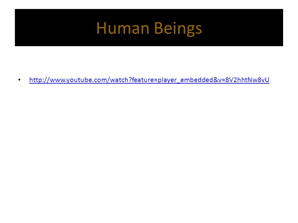 Human Beings http://www.youtube.com/watch?feature=player_embedded&v=8V2hhtNw8vU