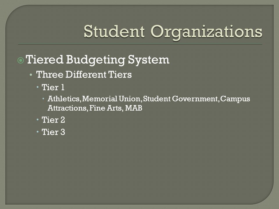  Tiered Budgeting System Three Different Tiers  Tier 1  Athletics, Memorial Union, Student Government, Campus Attractions, Fine Arts, MAB  Tier 2  Tier 3