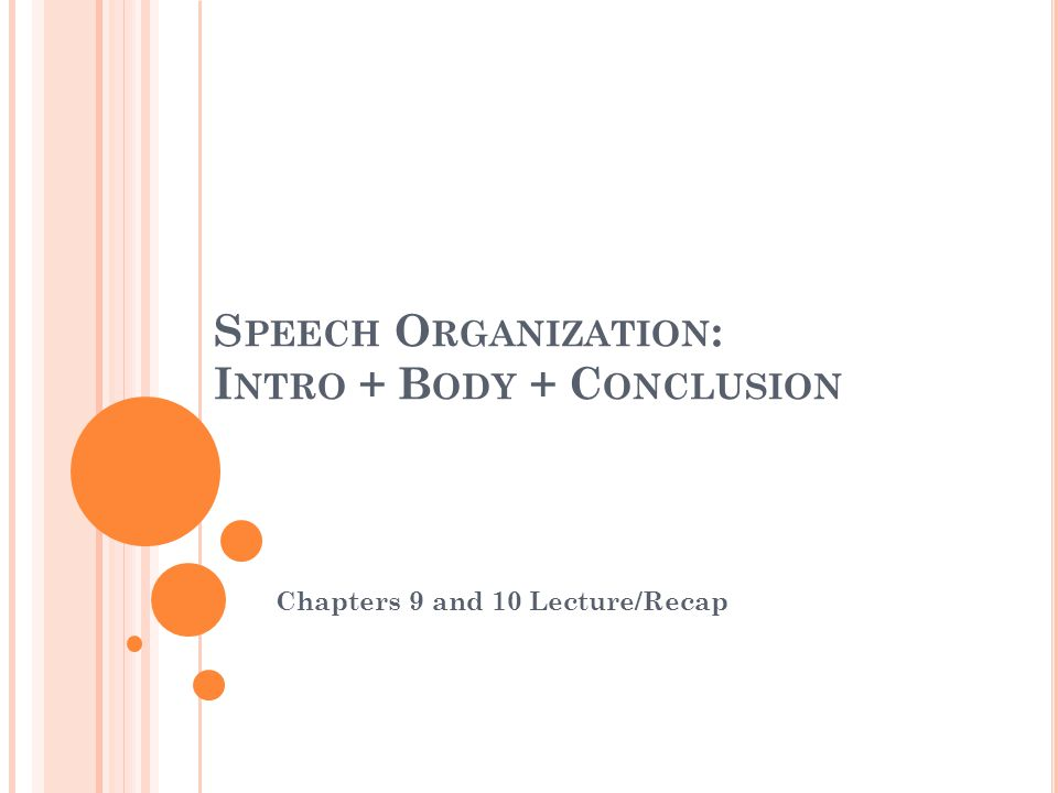 S PEECH O RGANIZATION : I NTRO + B ODY + C ONCLUSION Chapters 9 and 10 Lecture/Recap