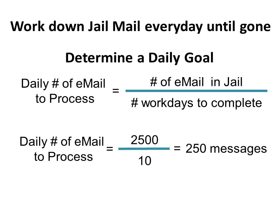 Work down Jail Mail everyday until gone Determine a Daily Goal Daily # of eMail to Process = # of eMail in Jail # workdays to complete Daily # of eMail to Process = 2500 10 =250 messages