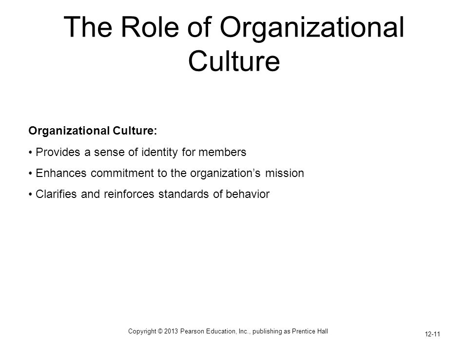 Copyright © 2013 Pearson Education, Inc., publishing as Prentice Hall 12-11 The Role of Organizational Culture Organizational Culture: Provides a sens