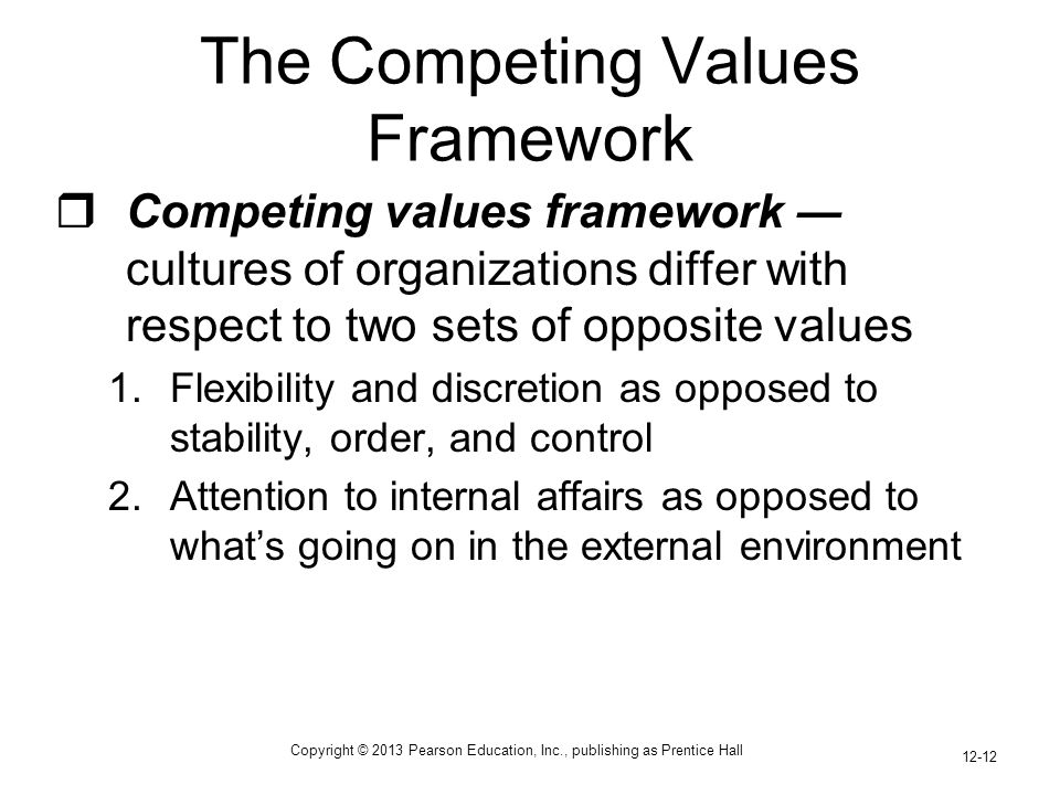 Copyright © 2013 Pearson Education, Inc., publishing as Prentice Hall 12-12 The Competing Values Framework  Competing values framework ― cultures of organizations differ with respect to two sets of opposite values 1.Flexibility and discretion as opposed to stability, order, and control 2.Attention to internal affairs as opposed to what's going on in the external environment