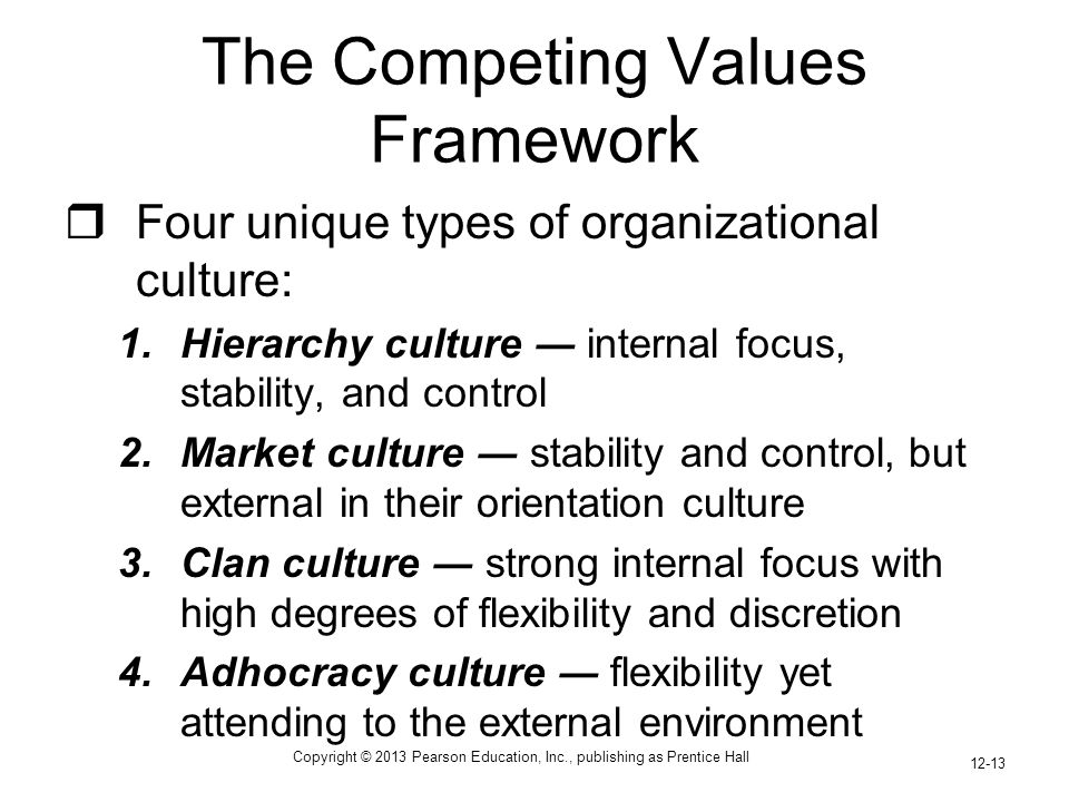 Copyright © 2013 Pearson Education, Inc., publishing as Prentice Hall 12-13 The Competing Values Framework  Four unique types of organizational culture: 1.Hierarchy culture ― internal focus, stability, and control 2.Market culture ― stability and control, but external in their orientation culture 3.Clan culture ― strong internal focus with high degrees of flexibility and discretion 4.Adhocracy culture ― flexibility yet attending to the external environment