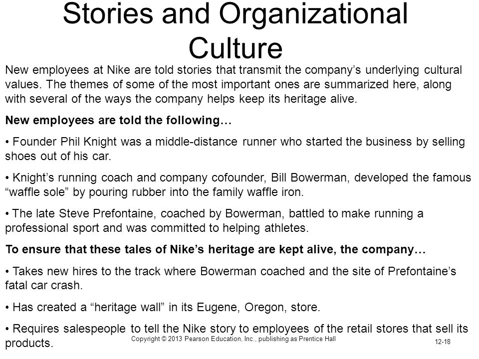 Copyright © 2013 Pearson Education, Inc., publishing as Prentice Hall 12-18 Stories and Organizational Culture New employees at Nike are told stories