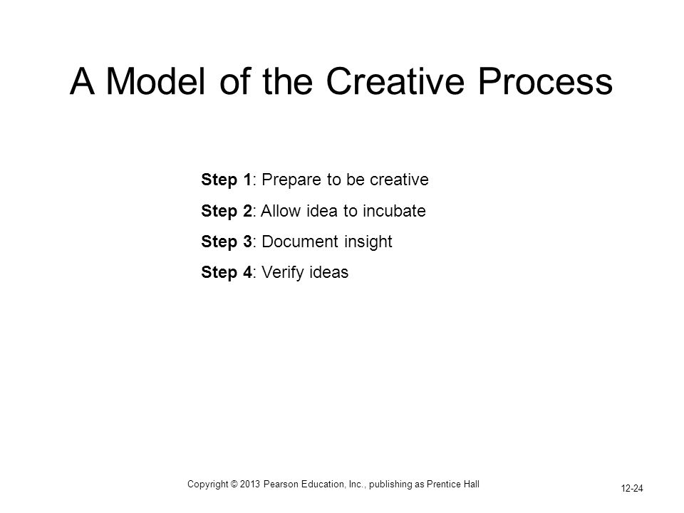 Copyright © 2013 Pearson Education, Inc., publishing as Prentice Hall 12-24 A Model of the Creative Process Step 1: Prepare to be creative Step 2: All