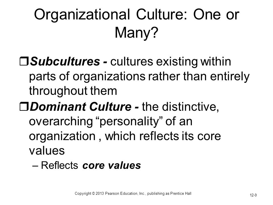 Copyright © 2013 Pearson Education, Inc., publishing as Prentice Hall 12-9 Organizational Culture: One or Many?  Subcultures - cultures existing with