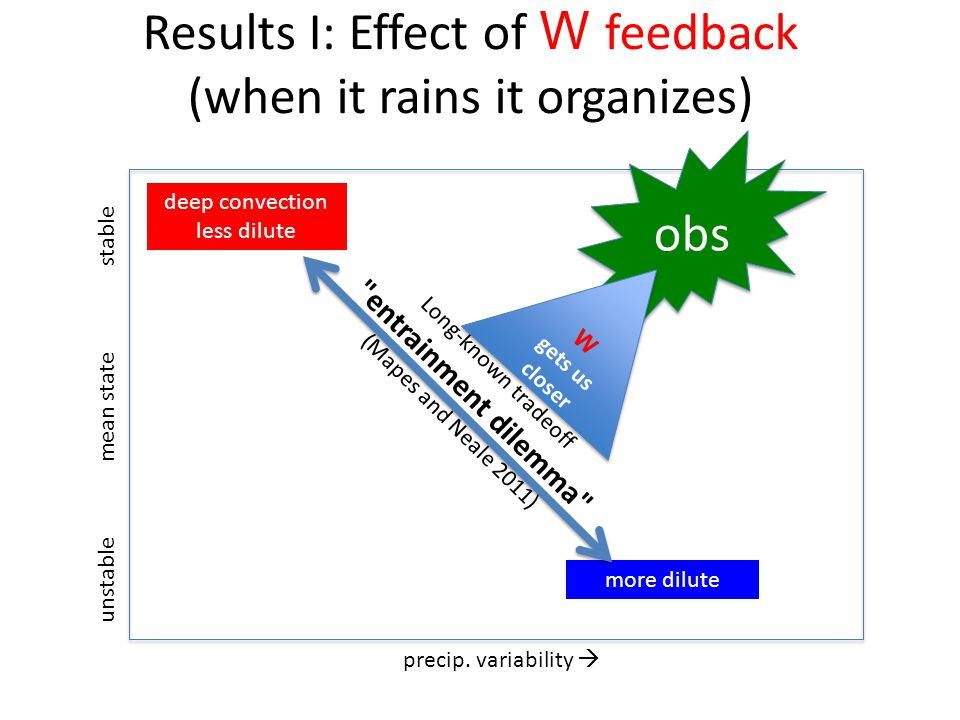 Results I: Effect of W feedback (when it rains it organizes) precip.