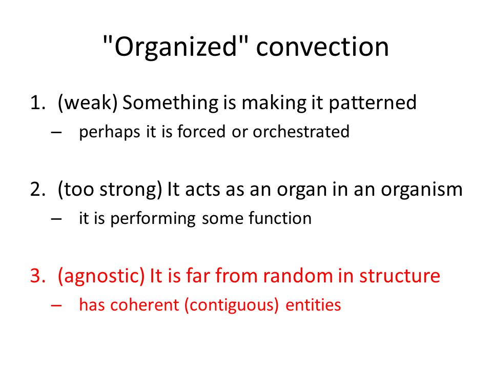 Organized convection 1.(weak) Something is making it patterned – perhaps it is forced or orchestrated 2.(too strong) It acts as an organ in an organism – it is performing some function 3.(agnostic) It is far from random in structure – has coherent (contiguous) entities