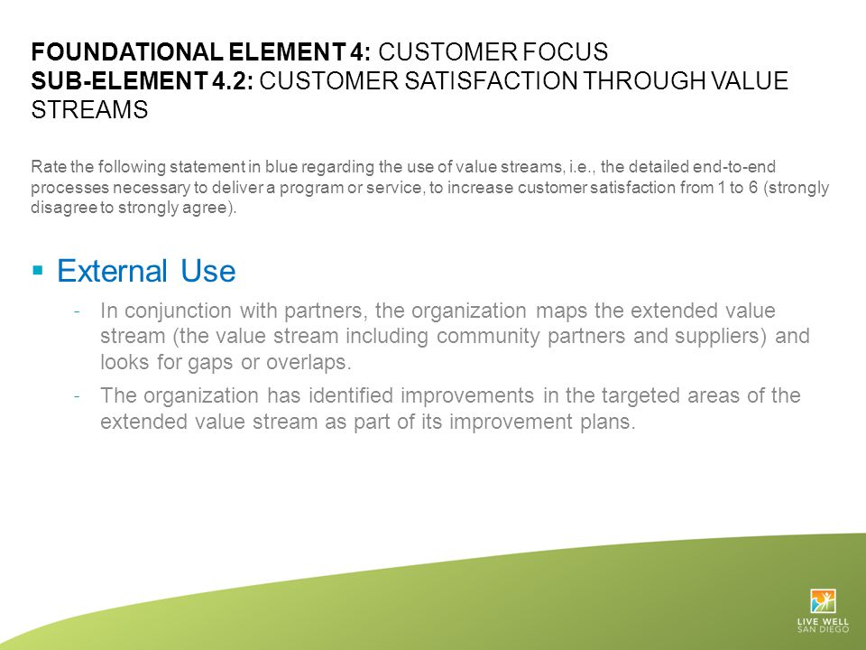 FOUNDATIONAL ELEMENT 4: CUSTOMER FOCUS SUB-ELEMENT 4.2: CUSTOMER SATISFACTION THROUGH VALUE STREAMS Rate the following statement in blue regarding the
