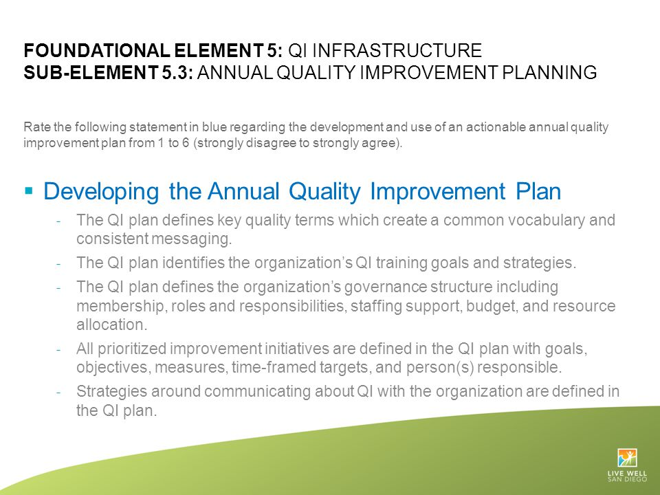 FOUNDATIONAL ELEMENT 5: QI INFRASTRUCTURE SUB-ELEMENT 5.3: ANNUAL QUALITY IMPROVEMENT PLANNING Rate the following statement in blue regarding the deve