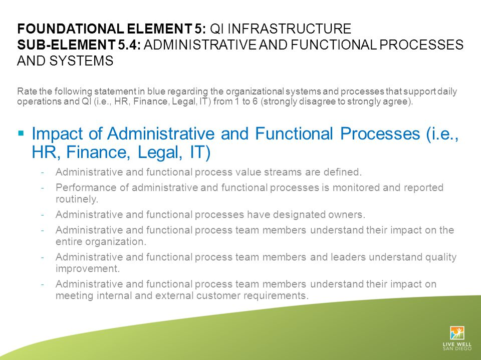 FOUNDATIONAL ELEMENT 5: QI INFRASTRUCTURE SUB-ELEMENT 5.4: ADMINISTRATIVE AND FUNCTIONAL PROCESSES AND SYSTEMS Rate the following statement in blue re