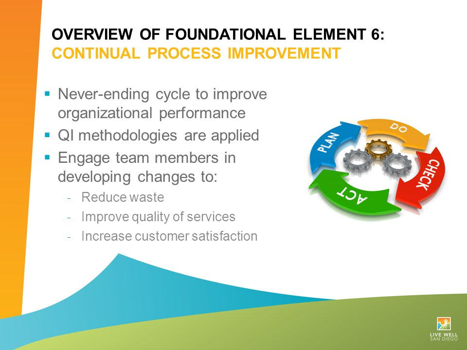 OVERVIEW OF FOUNDATIONAL ELEMENT 6: CONTINUAL PROCESS IMPROVEMENT  Never-ending cycle to improve organizational performance  QI methodologies are ap