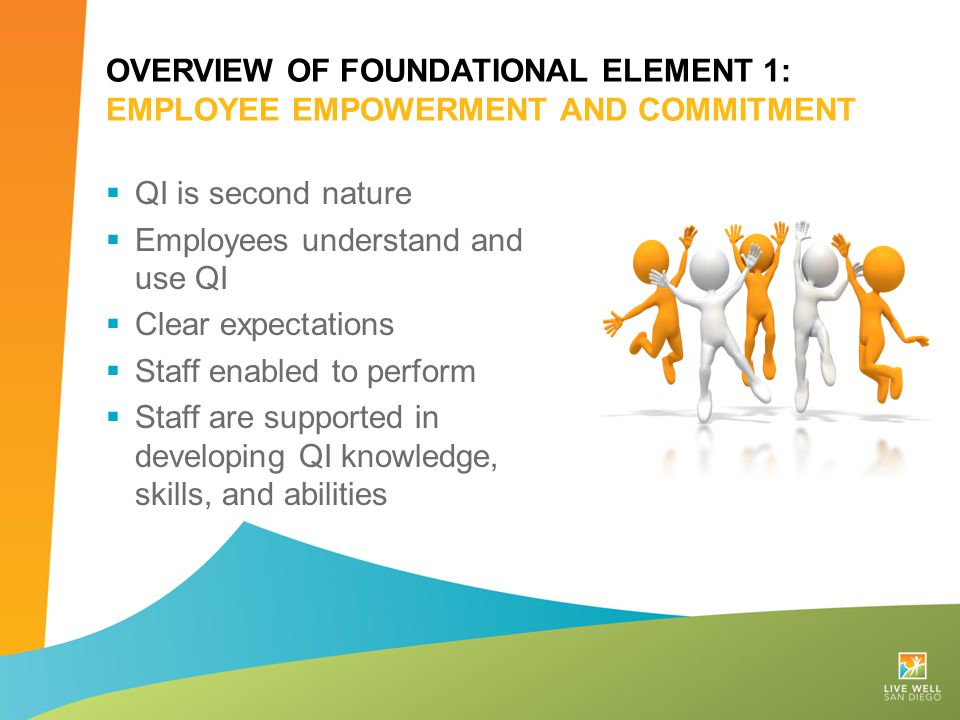 OVERVIEW OF FOUNDATIONAL ELEMENT 1: EMPLOYEE EMPOWERMENT AND COMMITMENT  QI is second nature  Employees understand and use QI  Clear expectations 