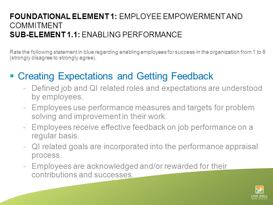 FOUNDATIONAL ELEMENT 1: EMPLOYEE EMPOWERMENT AND COMMITMENT SUB-ELEMENT 1.1: ENABLING PERFORMANCE Rate the following statement in blue regarding enabl