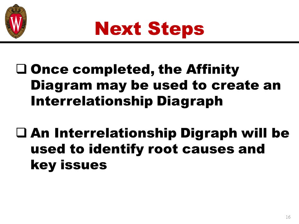 16 Next Steps  Once completed, the Affinity Diagram may be used to create an Interrelationship Diagraph  An Interrelationship Digraph will be used to identify root causes and key issues