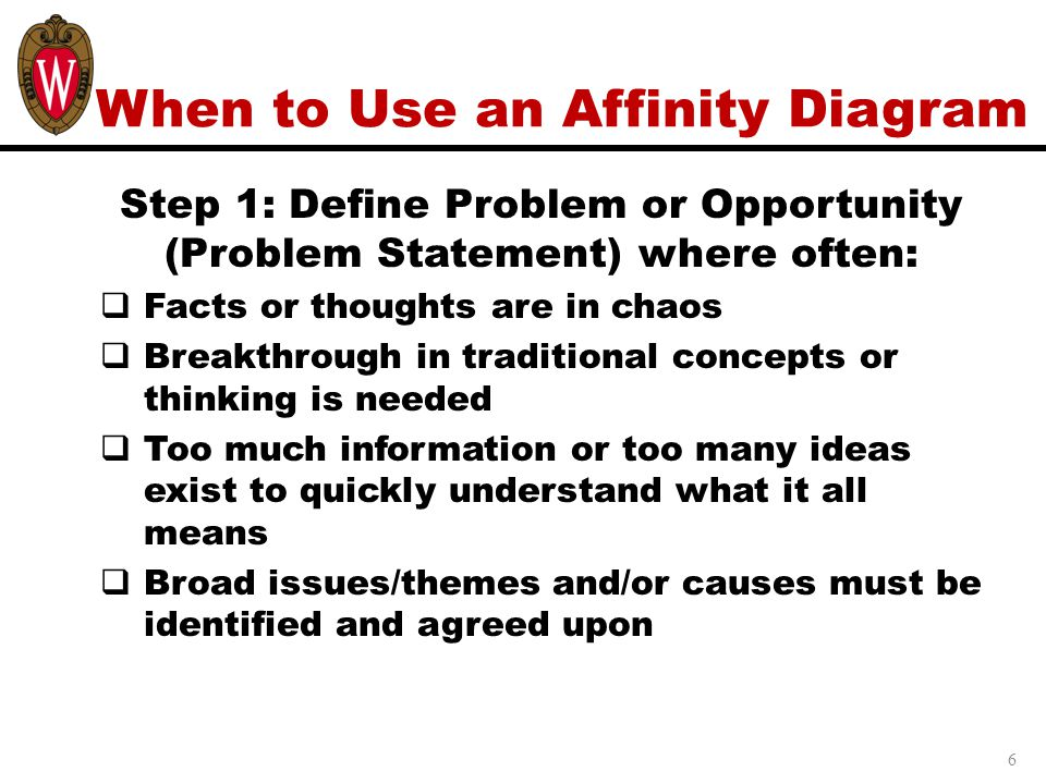 When to Use an Affinity Diagram Step 1: Define Problem or Opportunity (Problem Statement) where often:  Facts or thoughts are in chaos  Breakthrough in traditional concepts or thinking is needed  Too much information or too many ideas exist to quickly understand what it all means  Broad issues/themes and/or causes must be identified and agreed upon 6