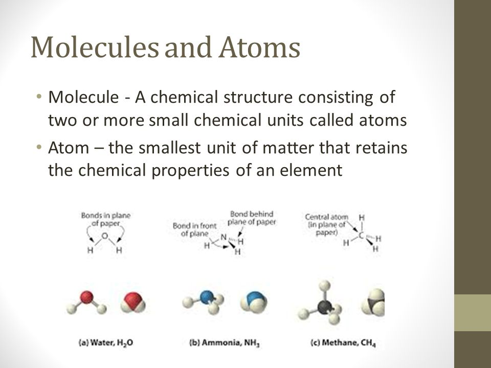 Molecules and Atoms Molecule - A chemical structure consisting of two or more small chemical units called atoms Atom – the smallest unit of matter tha