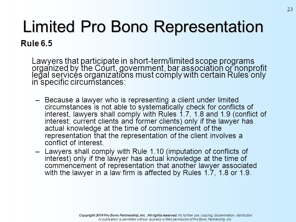 Copyright 2014 Pro Bono Partnership, Inc. All rights reserved.