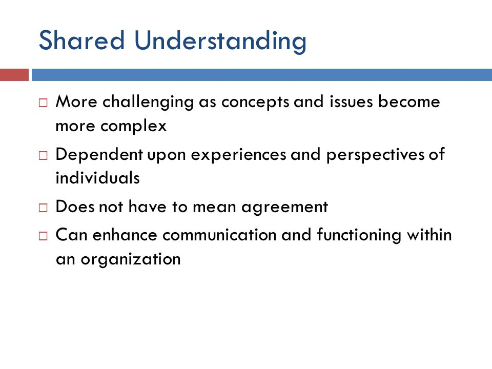 Shared Understanding  More challenging as concepts and issues become more complex  Dependent upon experiences and perspectives of individuals  Does