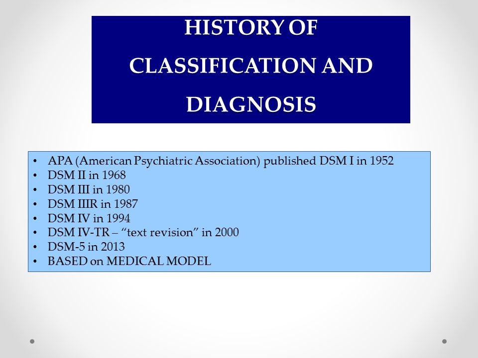 HISTORY OF CLASSIFICATION AND DIAGNOSIS APA (American Psychiatric Association) published DSM I in 1952 DSM II in 1968 DSM III in 1980 DSM IIIR in 1987