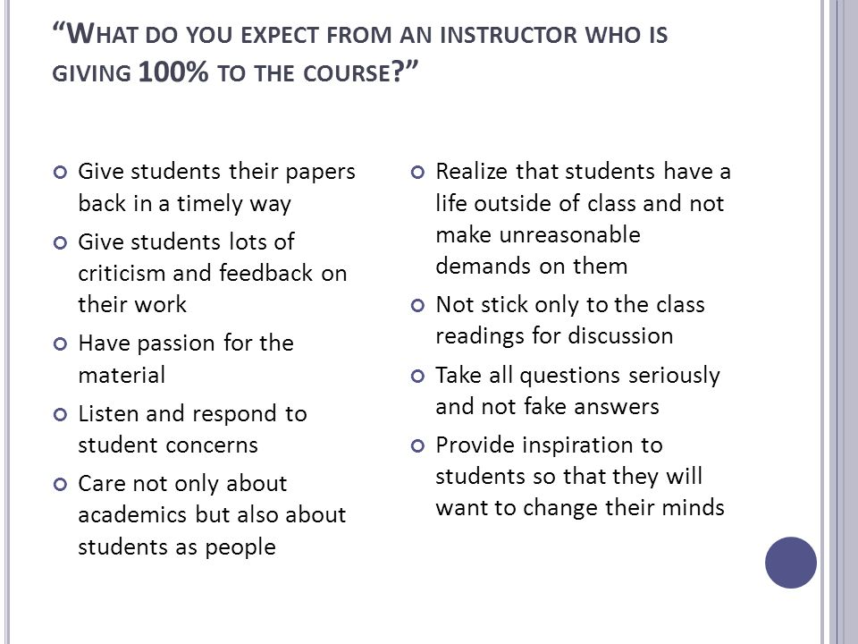 W HAT DO YOU EXPECT FROM AN INSTRUCTOR WHO IS GIVING 100% TO THE COURSE Give students their papers back in a timely way Give students lots of criticism and feedback on their work Have passion for the material Listen and respond to student concerns Care not only about academics but also about students as people Realize that students have a life outside of class and not make unreasonable demands on them Not stick only to the class readings for discussion Take all questions seriously and not fake answers Provide inspiration to students so that they will want to change their minds