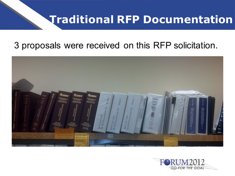 Traditional RFP Documentation 3 proposals were received on this RFP solicitation.