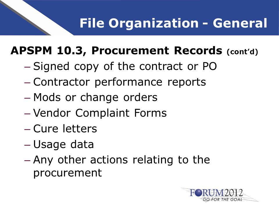 Hard Copy File Organization Small Purchase Checklist Checklists for file organization of small purchases, $0 to $100,000 Checklists in the handouts are designed for term contracts Modify the checklist accordingly for spot buys (i.e.