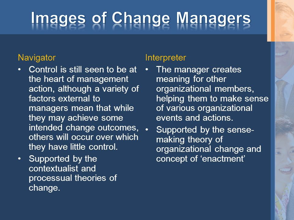 Navigator Control is still seen to be at the heart of management action, although a variety of factors external to managers mean that while they may achieve some intended change outcomes, others will occur over which they have little control.