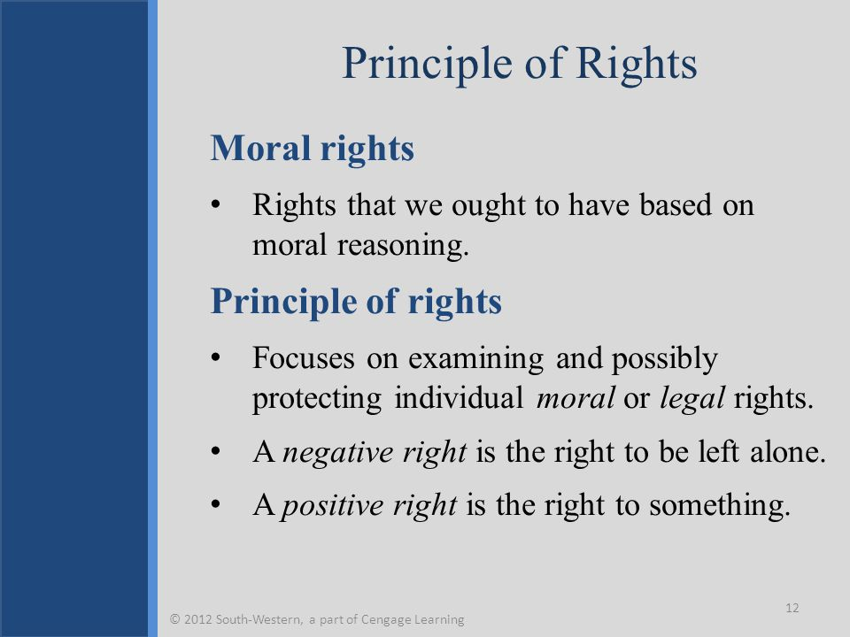 Principle of Rights Moral rights Rights that we ought to have based on moral reasoning. Principle of rights Focuses on examining and possibly protecti