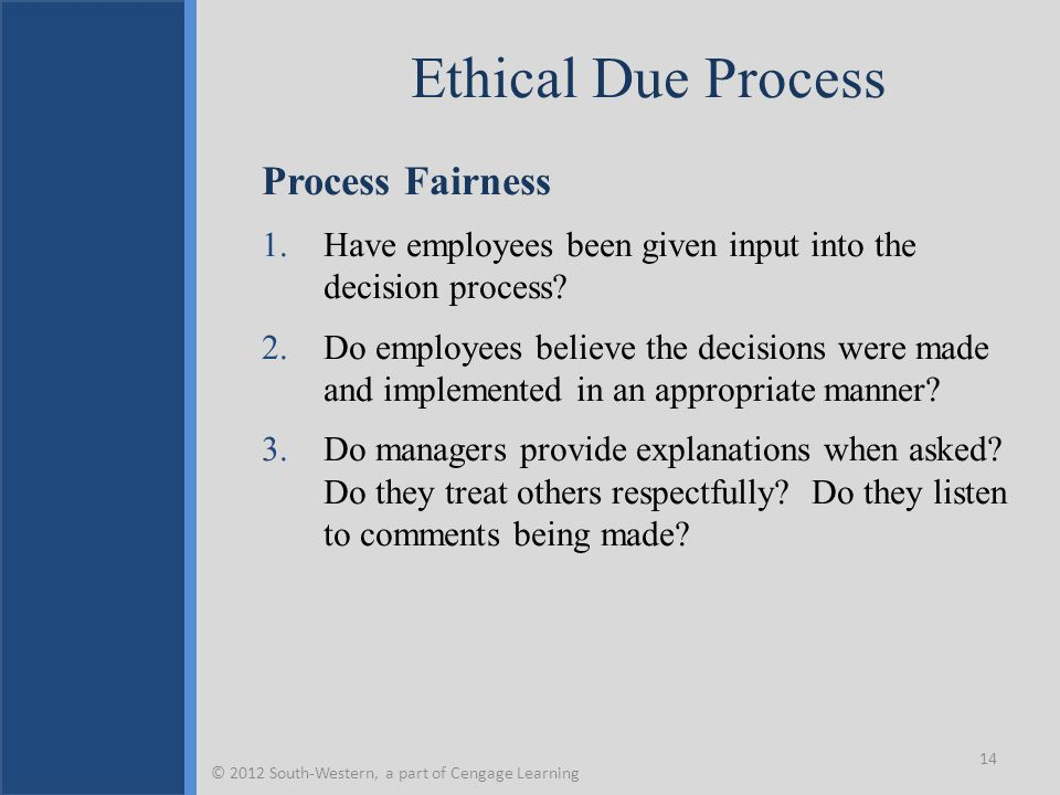 Ethical Due Process Process Fairness 1.Have employees been given input into the decision process? 2.Do employees believe the decisions were made and i