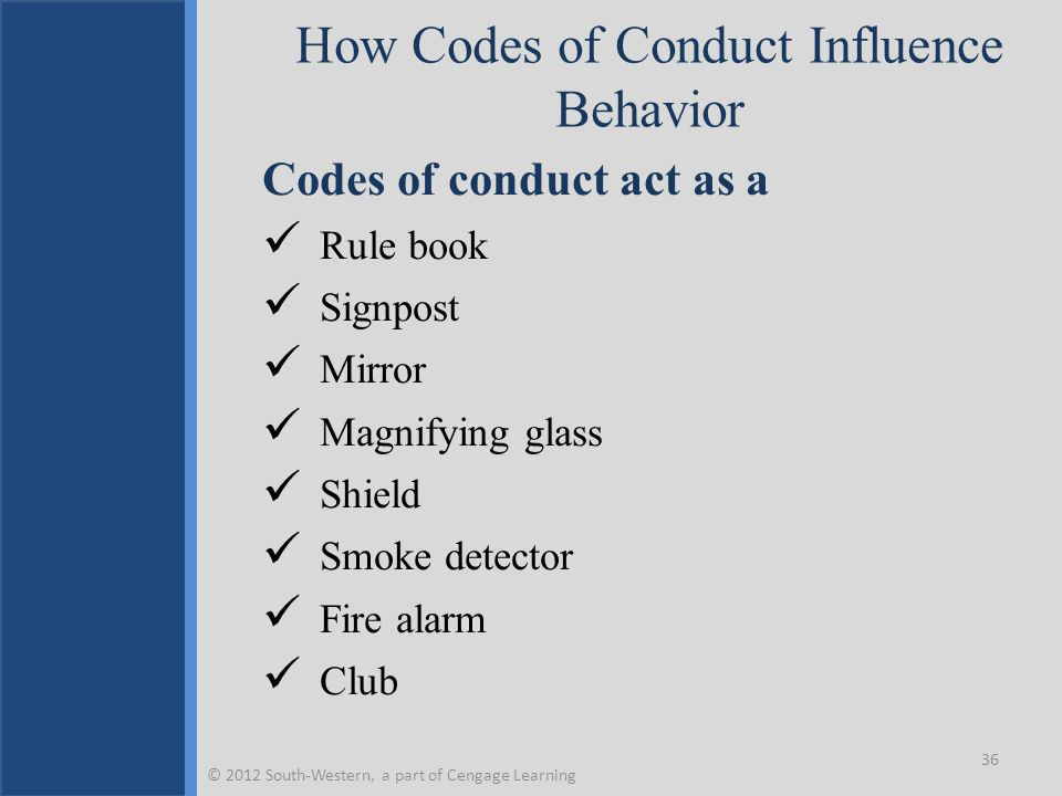 How Codes of Conduct Influence Behavior Codes of conduct act as a Rule book Signpost Mirror Magnifying glass Shield Smoke detector Fire alarm Club 36