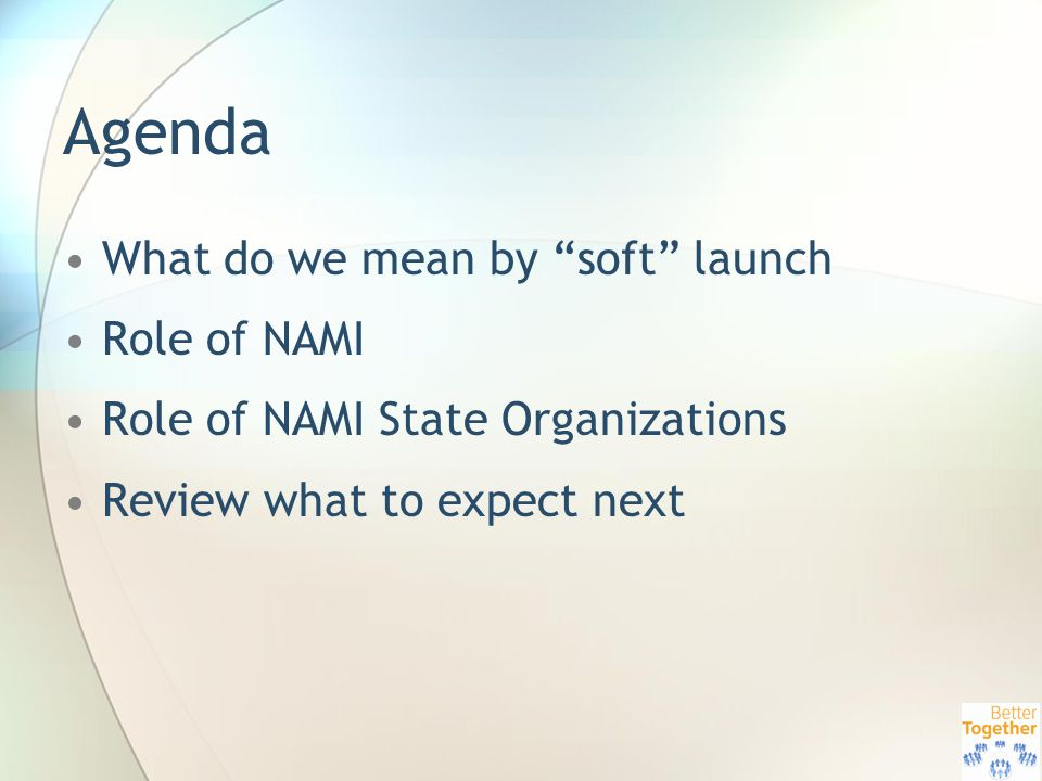 Agenda What do we mean by soft launch Role of NAMI Role of NAMI State Organizations Review what to expect next