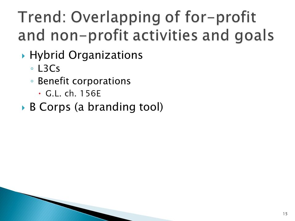  Hybrid Organizations ◦ L3Cs ◦ Benefit corporations  G.L. ch. 156E  B Corps (a branding tool) 15
